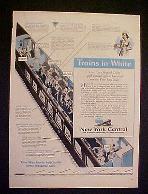 """1944 WWII New York Central Railroad Trains in White~Military LG 10.5 x 14"""" AD"""
