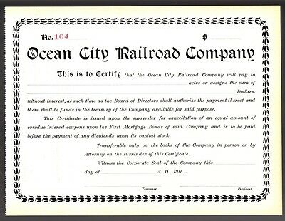 [35783] Early 1900s OCEAN CITY RAILROAD COMPANY STOCK CERTIFICATE No. 104