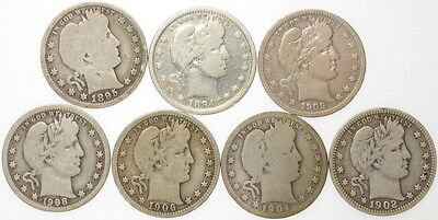 Mixed Date Lot Of 7 .25 Cent Silver Barber Quarters Coins