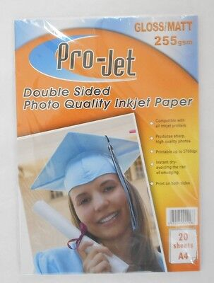 20 Sheets of GLOSS & Matt Double Sided A4 Photo Paper 255gsm Inkjet Paper