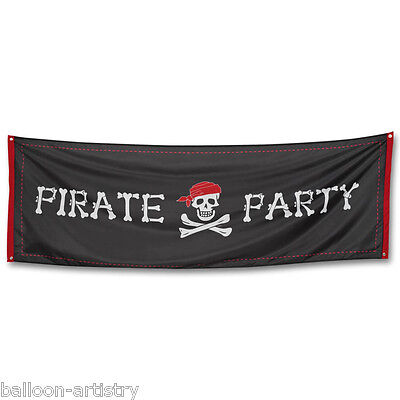 2.2m Classic Pirate Party Skull Crossbones Giant Black Flag Banner Decoration