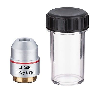 AmScope PA4X 4X Plan Achromatic Microscope Objective Lens + Container