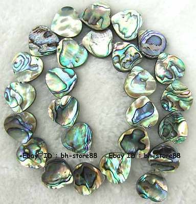 3x16mm Heart Flat Natural Abalone Shell Loose Beads 15''