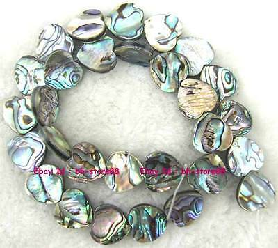 3x14mm Heart Flat Natural Abalone Shell Loose Beads 15''