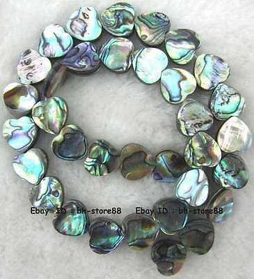 3x12mm Heart Flat Natural Abalone Shell Loose Beads 15''