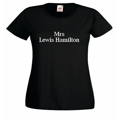 Mrs Lewis Hamilton Ladies Fitted Black T-Shirt White Print racing driver wife BN