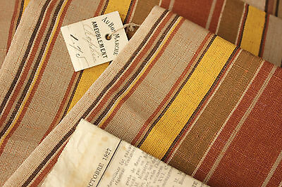 Vintage French ticking stripe furnishing fabric 1927 UNUSED bolt PARIS