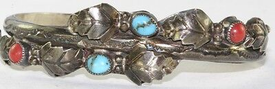Vtg Sterling Silver Turquoise Coral Marie Dale Cuff Bracelet