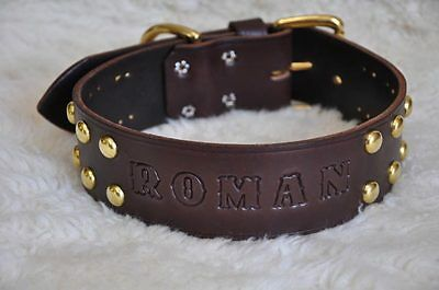"""Wide Leather Large  Dog Custom Collar Personalized 2"""" Wide w/ Spots"""