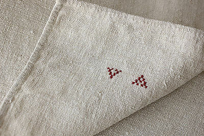 Antique French homespun hemp VA monogram apron textile 19th century