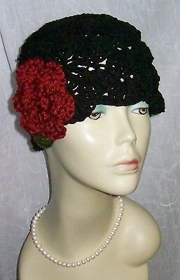 New Womens Vintage Style Warm Winter Cloche Hat Flapper Ladies 1920s Rose Black