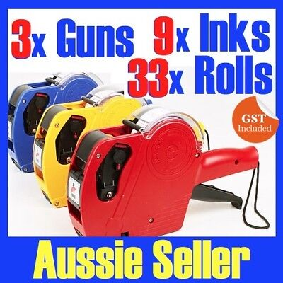 3 x Price Pricing Gun Labeller +33 Rolls Labels + 9 x Inks NG11