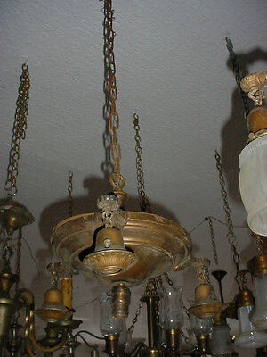 As Found  All Original Antique 3 Drop Arm & Pan Light Fixture 5605