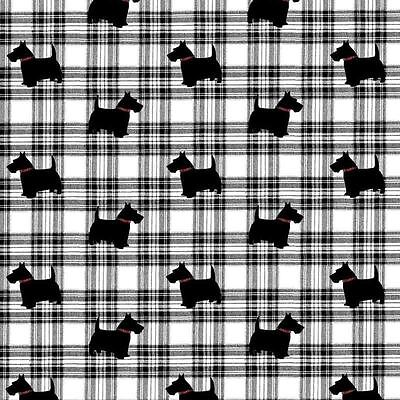 Tartan Check Scottie Dog GIFT WRAP 2 sheets luxury wrapping paper 2 tags pack