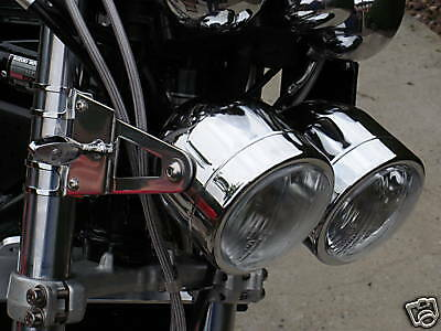 Twin Round Chrome Streetfighter Dominator Motorcycle Headlights E Marked
