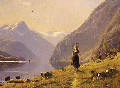 Norway Girl Water Mountain Summer Day on Fjord by Hans Dahl 8x10 Print 0288