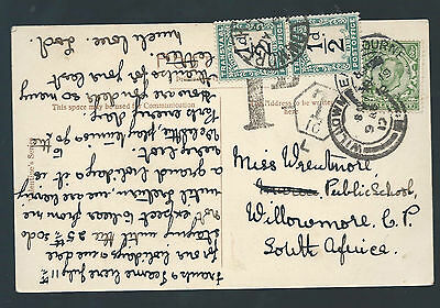 GREAT BRITAIN 1912 KGV POSTCARD TO SOUTH AFRICA TRANSVAAL DUE