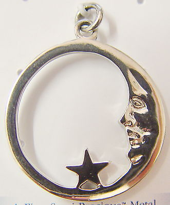CRESCENT MOON WITH STAR PENDANT 22mm Diameter NEBULA Wicca Pagan Witch Goth Punk
