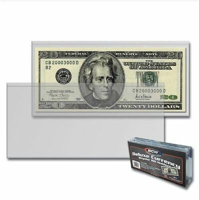 (50) BCW Deluxe Semi Rigid Regular Dollar Bill Currency Holders Standard Notes