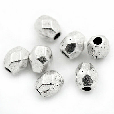 """300PCs Silver Tone Faceted Oval Spacers Beads 4x3.5mm(1/8""""x1/8"""")"""