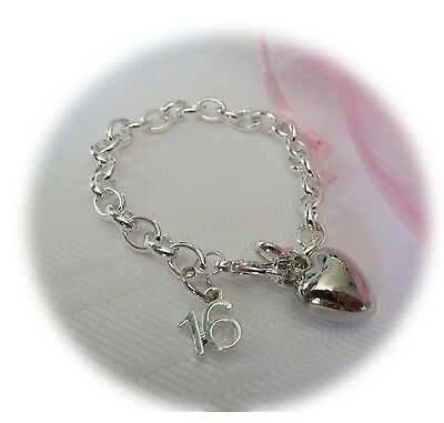 """Personalised 16th bracelet - """"16th Age Charm"""" Silver plated - Gift bag included"""