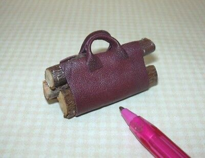 Miniature Brown Leather Log Carrier Filled w/Logs: DOLLHOUSE 1:12 Scale