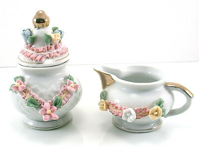 Vintage Antique Ornate Miniature Applied Lace Sugar and Creamer Tea Set
