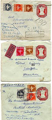 India 1958 3 Covers pre stamped envelopes with extra stamps all to Jabalpur