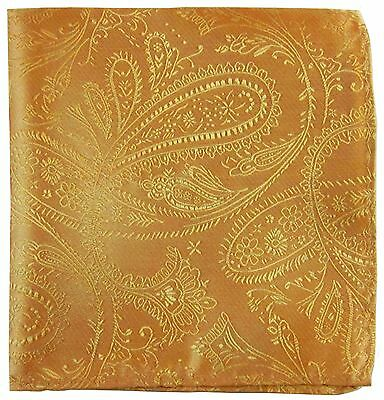 New Men's Polyester Woven pocket square hankie only gold paisley wedding