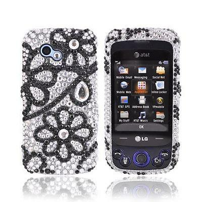Black Flower Lace Silver Bling Hard Plastic Case Cover For LG Neon II GW370