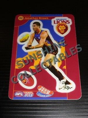 2013 Teamcoach Team Star Sticker Card 02 Jonathan Brown Brisbane Lions