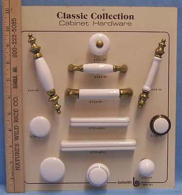 Belwith Cabinet Hardware Knobs & Pulls White Porcelain Antique Gold Tone Metal
