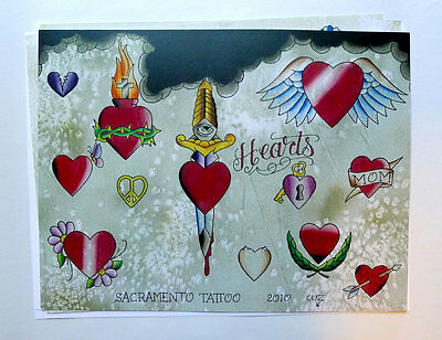 Tattoo Flash 2010 Set of 3 with Line Art Hearts Roses Dagger by Cuz'n Bill Loren