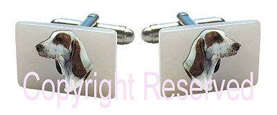Spanish Greyhound Dog Natural Shell Mother Of Pearl Cufflinks + Gift Box SCS82