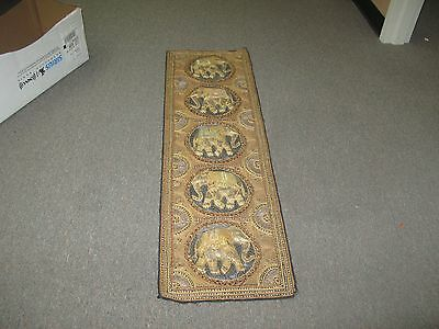 "Antique Kalaga Myanmar Thai Burma embroidery Elephant Tapestry Sequin 50""x15"""