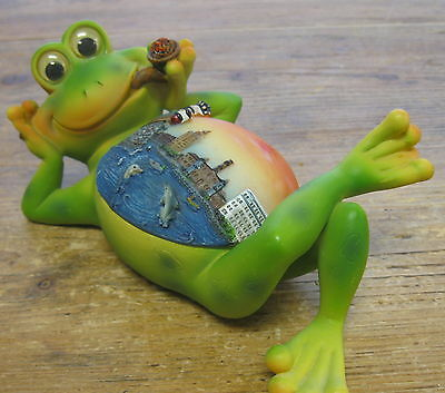 Frog Reclining Smoking Pipe Figural Trinket Box Fantasy Dolphins Gold Coins CUTE