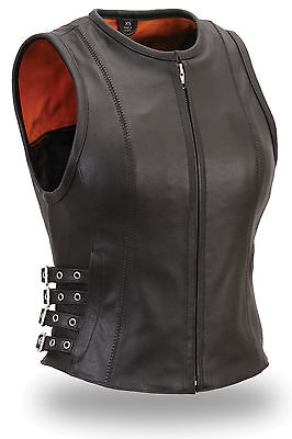 Women's Black Leather Motorcycle Vest with 3 Side Buckles & Zip Front