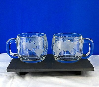NESTLE CUP MUG PAIR (s) GLASS ETCHED WORLD MAP STRAIGHT BACK MARK Coffee Vintage