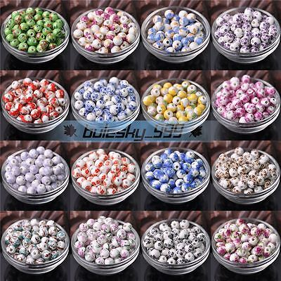 10mm Round Ceramic Porcelain Loose Spacer Beads Charms Finding
