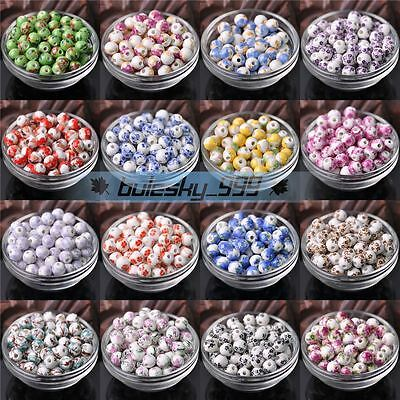 10pcs 10mm Flower Design Round Craft Ceramic Porcelain Loose Spacer Bead Charms