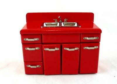 Dolls House Miniature Furniture 1950's Kitchen Unit Double Sink Mixer Tap in Red