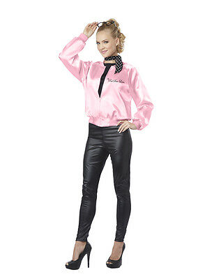 Sexy 50s Grease Hot Pink Ladies Satin Jacket & Scarf Costume Halloween