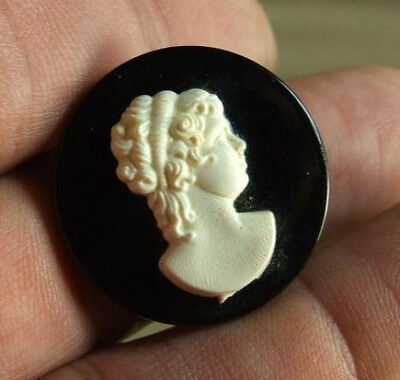 Vintage Early Plastic Black & Cream Celluloid Cameo Collar Pin Brooch