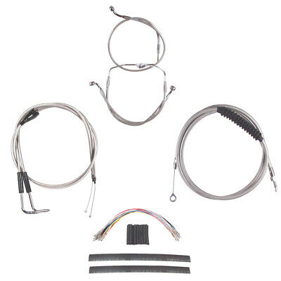 """Stainless Cable & Brake Line Cmpt Kit 16"""" Apes 1996-2006 Harley Touring w/Cruise"""