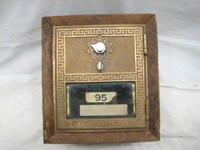 Antique USPS Greek Key Mail Post Office Box Door US Brass Combination PO