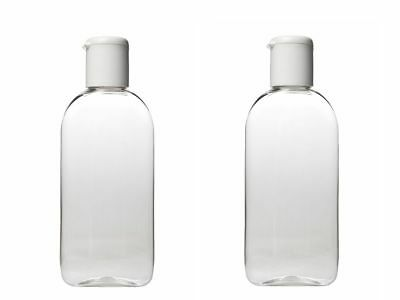 HOLIDAY TRAVEL BOTTLES 2 x 100ML Clear Plastic Bottles - Customs Approved