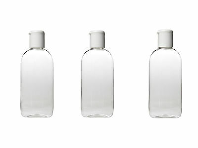 HOLIDAY TRAVEL BOTTLES 3 x 100ML Clear Plastic Bottles Airport Security Approved