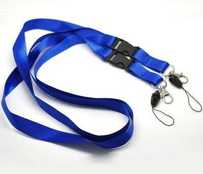 5x DETACHABLE DUAL Blue Lanyard Neck Strap Metal & Loop Clip For ID Card Holder