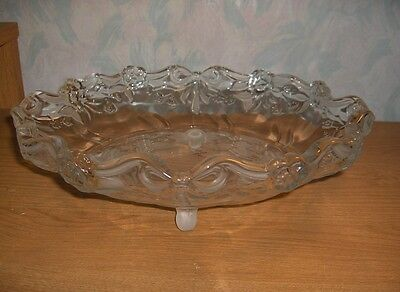 Vng Mikasa Walther Crystal Centerpiece Bowl Bows Ribbons Roses Flowers W.Germany