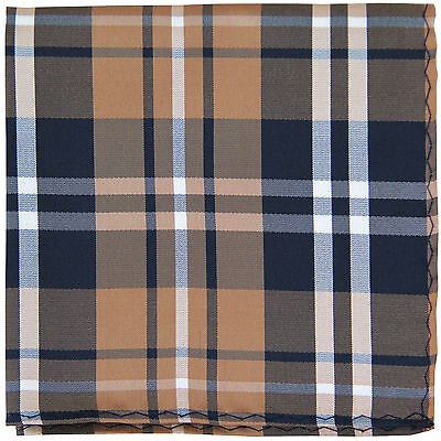 New Men's Polyester Woven pocket square hankie only black brown white plaid